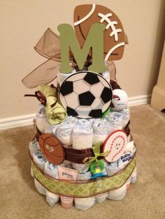Green and Brown Sports Diaper Cake