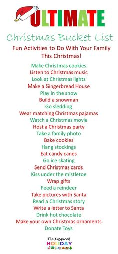 The Ultimate Christmas Bucket List 2019. Find the best ideas to try with your family this Christmas. Fun and new ways to help celebrate the most wonderful time of the year! #christmas2019 #christmas #christmasideas #planningforchristmas #christmasbucketlist