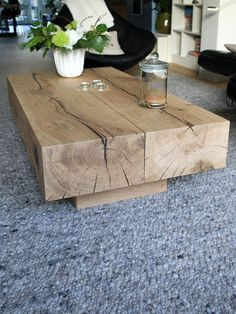 natural wood oak beam coffee table for living room