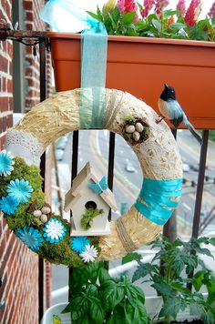 Fabulous mixed media spring wreath