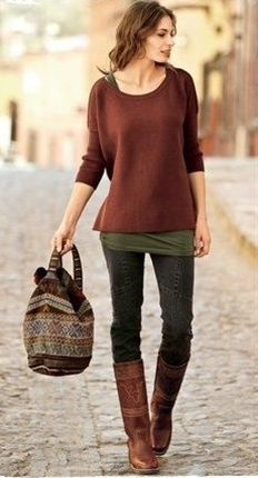 love the rusty red - Click image to find more fashion posts wine red olive green brown leather