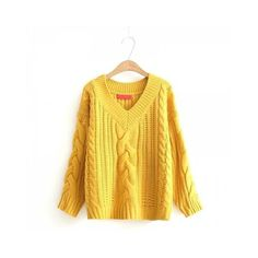 Yellow One Size New Ladies Knitting V Neck Twist Sweater (£17) ❤ liked on Polyvore featuring tops, sweaters, twist top, yellow top, v-neck tops, v neck sweater and yellow sweater