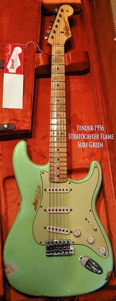 1956 Fender Stratocaster Surf Green Electric Guitar (color corrected) Me likey. Fender Stratocaster, Gretsch, Fender Guitars, Gibson Guitars, Music Guitar, Guitar Amp, Cool Guitar, Playing Guitar, Surf Guitar