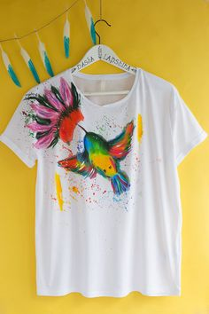 Dipinti a mano Humming Bird t-shirt bianco e di SpringHoliday