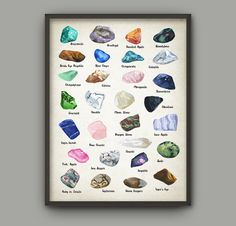 Gemstones Watercolor Art Poster - Fine Gems Color Chart - Precious Stone Used In Jewelry Making - Mineral Crystals - Gift Idea For Her