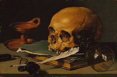 Still Life with a Skull and a Writing Quill, 1628 Pieter Claesz (Dutch, 1596/97–1660) Oil on wood; 9 1/2 x 14 1/8 in. (24.1 x 35.9 cm) This is one of the earliest dated still lifes by Claesz., a Haarlem painter who gave extraordinary presence to familiar things. Here a skull, an overturned glass roemer with its fleeting reflections, an expired lamp, and the attributes of a writer suggest that worldly efforts are ultimately in vain. http://www.metmuseum.org/toah/works-of-art/49.107