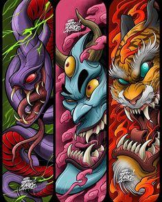 Music Graffiti, Graffiti Drawing, Japanese Dragon Tattoos, Japanese Tattoo Art, Asian Wallpaper, Samurai Artwork, Sketch Tattoo Design, Japan Tattoo, Oriental Tattoo