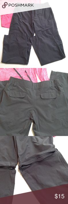 "Danskin zip away athletic pants So versatile!! I got them to wear over workout clothes until I got to the gym..just too big all over for me..😕 Can zip off legs or tie them up. Has a snap/zipper/drawstring closure. Functional front pockets,faux back pockets. Elastic sides on waistband. Inseam for pants is 31"", 11"" for shorts. 16"" waist-measured flat & relaxed, comfy 2"" waistband. 10"" rise, 10"" leg opening. Danskin Pants Track Pants & Joggers"