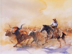"""""""Thousand Cattle Running"""" -- by Buck Taylor Cowboy Artwork, Texas Houses, Cowboy History, Western Artists, Texas Longhorns, Le Far West, Paintings I Love, Texas Rangers, Old West"""
