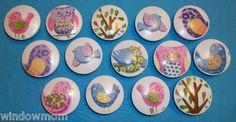 "Hayley Owl Bird 2"" Wooden Dresser Drawer Knob Pull Made with Pottery Barn Kids | eBay"