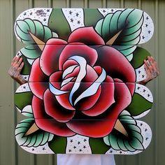 Skateboard-deck-tabletop by Steen Jones Painted Skateboard, Skateboard Decks, Go Getter, Deck Design, Tattoo Designs, Tattoo Ideas, Rose Tattoos, I Tattoo, Old School