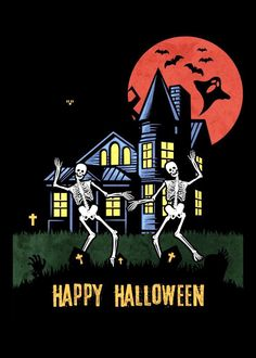Halloween Cartoons, Halloween Poster, Halloween Painting, Halloween House, Baby Halloween, Halloween Pictures, In The Tree, Poster Prints, My Love