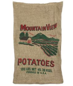 Plan on using these (with ribbon) for valances in my kitchen. Mountain View Burlap Potato Bags - $3.8 | onlinefabricstore.net