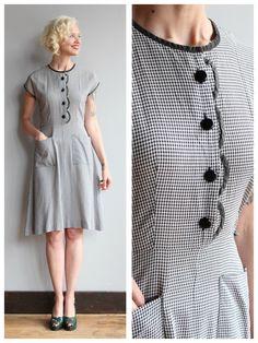 1950s Dress // Girl Next Door Dress // vintage 50s gingham dress by dethrosevintage on Etsy https://www.etsy.com/listing/239885617/1950s-dress-girl-next-door-dress-vintage