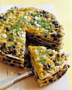 Serve this brightly colored, layered tortilla pie with salsa and sour cream on the side. You can assemble the pie ahead of time, then bake it just before serving.