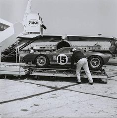 Scuderia Filipinetti's Shelby-prepared Mk. II GT40 being loaded at LAX for the trip to Le Mans, 1965. Photo: Friedman