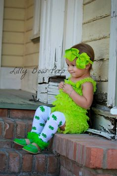 St Patricks Day Shamrock OutfitGirl Green Leg by LillyBowPeep, $7.95