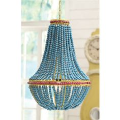 Beaded Chandelier with blue wood beaks | Lighting Connection