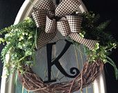 Personalized Grapevine Wreath with Bowood Wreath Wedding Decor Wedding gift Burlap Black Gingham Bow with black wood letter