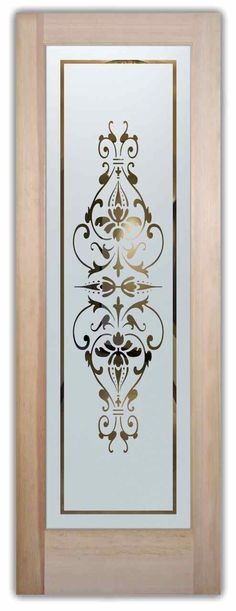 Bordeaux Etched Glass Front Doors Victorian Decor Block the view but brighten the look with an etched glass door! Customize and buy - huge price range. Frosted Glass Pantry Door, Frosted Glass Window, Etched Glass Door, Glass Front Door, Sliding Glass Door, Glass Etching, Glass Doors, Window Glass Design, Frosted Glass Design