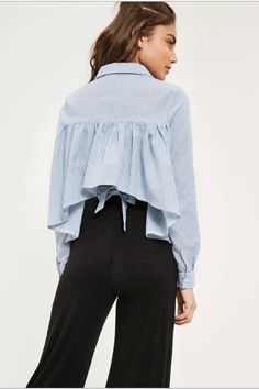 Missguided Blue Striped Tie Back Collared Shirt, $36, available at Missguided. #refinery29 http://www.refinery29.com/deconstructed-shirt-trend#slide-11