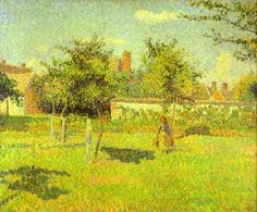 Woman in an Orchard, Spring Sunshine in a Field, Eragny - Camille Pissarro