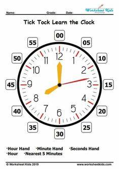 Learn to Tell the Time Clock - Teaching Clock - Free printable PDF Clock Worksheets, Worksheets For Kids, Time Worksheets Grade 3, Tell The Time Clock, Learning Time Clock, Second Grade Math, Grade 1, Clock Face Printable, Clock For Kids