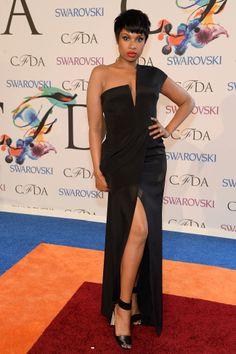 Jennifer Hudson showed some leg in a black dress.