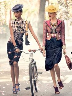 J'adore faire du velo. The only real sentence I know how to say in French after years of school... women and their bikes. <3 vogue, fashion, style, steven meisel, bicycl, marc jacobs, grace coddington, jourdan dunn, hat