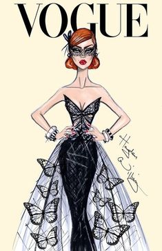 Black Butterflies' Dress and Mask VOGUE FROM: Fashion illustration by Raelynn8