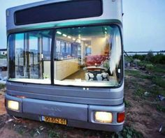 Old bus transformed into an apartment on wheels♡♥