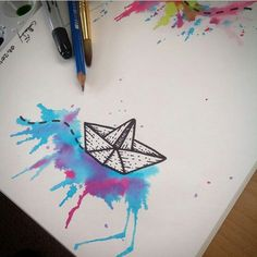 Watercolor origami boat
