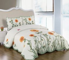 3 Pieces 3D White, Green, and Yellow Sunflower with Butterfly Comforter/bedspread/quilt/coverlets Bedding Set for Queen Size Bed