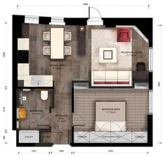 Floor Plan by Keir Townsend. 430 sq ft. flat in London. Superb use of space and gorgeous, luxurious decor.