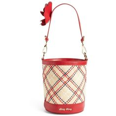 Women's Miu Miu Raffia Paglia Ricamo Tartan Bucket Bag ($1,280) ❤ liked on Polyvore featuring bags, handbags, shoulder bags, bucket bags, plaid handbags, embroidered handbags, tartan purse and embroidered purse