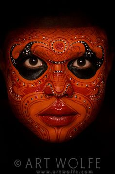 Theyyam dancers, Cochin, Kerala, India...What if instead of wearing make-up we wore our faces painted like this? What an interesting world that would be.