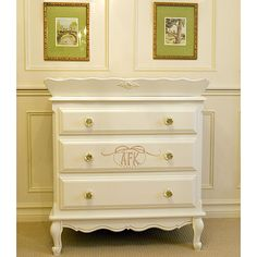 Monogrammed Three Drawer French Versatile Dresser and Luxury Kid Furnishings Including Armoires in Childs Furniture : Dressers at PoshTots