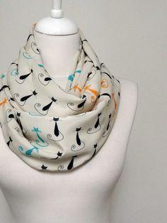 Cat pattern Infinity scarf Circle Scarf Loop Scarf by Aslidesign, $17.00