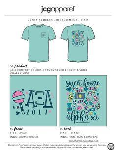 JCG Apparel : Custom Printed Apparel : Alpha Xi Delta Recruitment T-Shirt #alphaxidelta #axd #recruitment #candy #lollipop #handdrawn #sweethomealphaxi