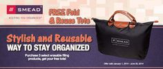 Smead Rebate: Get a FREE Fold & Reuse Tote with qualifying purchase of Smead brand products. Expires 6/30/2014 Rebate details: http://www.biggestbook.com/dyn/rebates/content/smead_freetote_1.1.14.pdf Shop at: http://www.officezilla.com/search.aspx?searchterm=smead%20supertab%20and%20fastab%20file%20folders #office #work #rebate