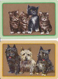 English Art Deco Linen swap Cards  Scotties. & Kitties
