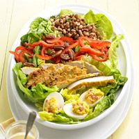 Southern Cobb Salad...You don't have to fry the chicken.  Grill it using cajun seasoning and olive oil