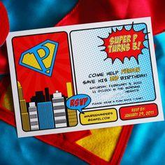 Vintage Super Hero Printable Invitation