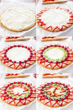This fruit pizza with cream cheese frosting is so easy to make, gorgeous and super yummy. fresh berries, kiwi, peaches on a giant frosted cookie. Fruit Pizza Cups, Fruit Pizza Frosting, Mini Fruit Pizzas, Easy Fruit Pizza, Cream Cheese Frosting, Fruit Fruit, The Menu, Sugar Cookie Dough, Sugar Cookies Recipe