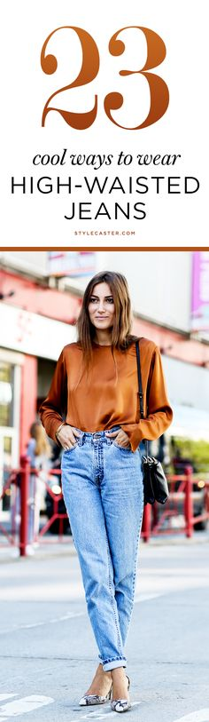 23 High-Waisted Jeans Outfit Ideas | Here's what to wear with high-waisted jeans according to our favorite street style stars. | @StyleCaster