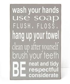 Take a look at this Gray Bathroom Rules Wall Art by Vinyl Crafts on #zulily today!
