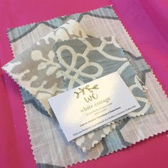 white cottage fabric swatches ready to mail out to a special client