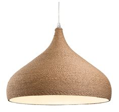 A brown rope wrapped ceiling pendant for contemporary settings, ideal for over table lighting. Can be shortened at the point of installation Dome Ceiling, Ceiling Pendant, Pendant Lighting, Ceiling Lights, Rope Pendant Light, Thing 1, Rustic Lighting, Kitchen Lighting, Lighting Ideas