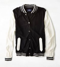 Lightweight Varsity Jacket: I want one of these! Teen Vogue, Mens Outfitters, School Fashion, Unique Outfits, Fall Trends, Lounge Wear, American Eagle Outfitters, Clothes For Women, My Style