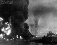 The ocean burns from oil near the Naval Air Station, shortly after the Japanese attack on Pearl Harbor, Hawaii, December 7, 1941.